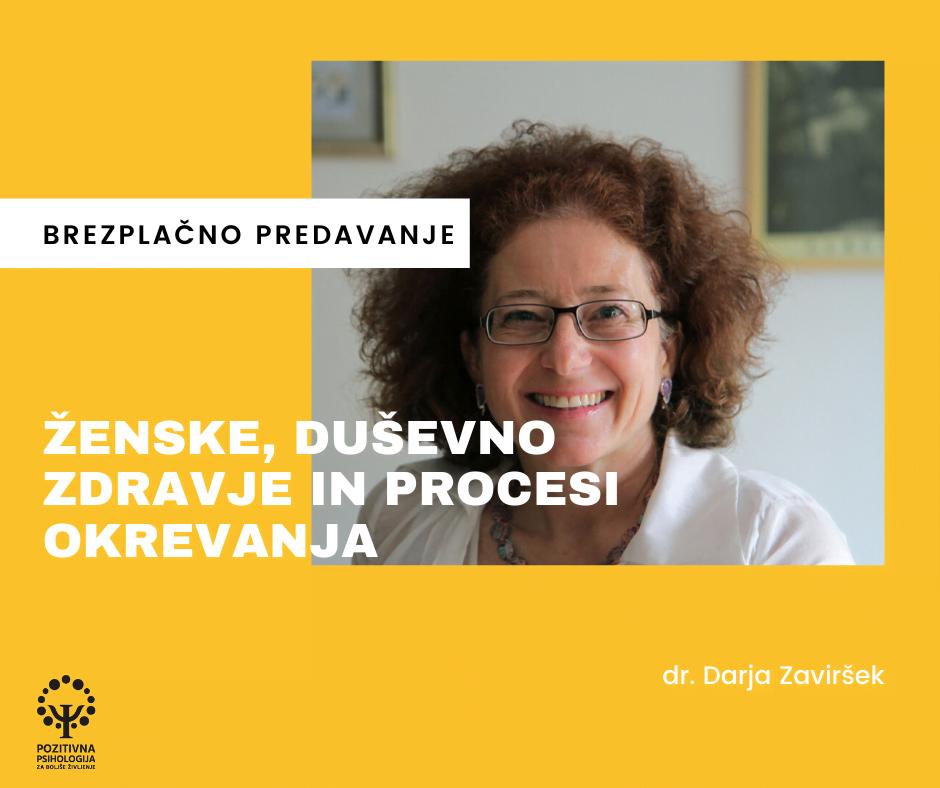 Ženske, duševno zdravje in procesi okrevanja, dr. Darja Zaviršek (Zoom), 1. 6. 2020